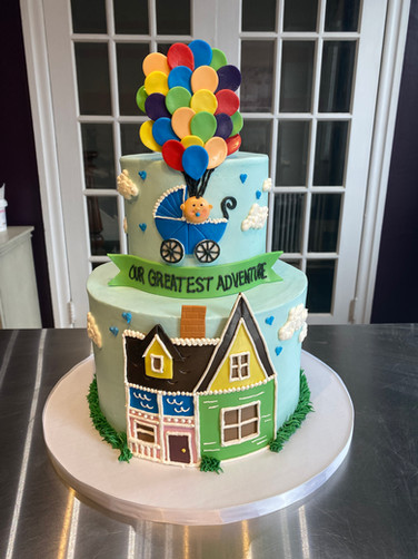 """Up"" Baby Shower Cake"
