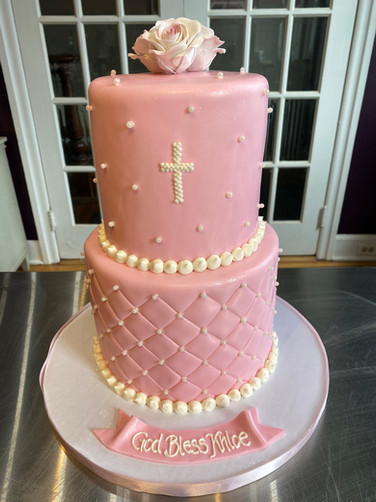 Pink Quilted Christening Cake with White Pearls