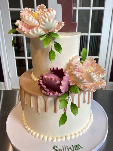 Purple Drip Birthday Cake with Gumpaste Flowers