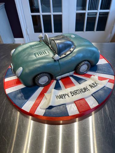 Blue Vintage Car Birthday Cake