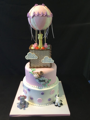 Giraffe in the Clouds Hot Air Balloon Baby Shower Cake