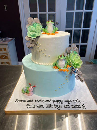 Frog Pond Baby Shower Cake