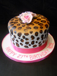 Cheetah Print Birthday Cake