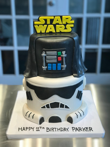 Darth Vader and Stormtrooper Star Wars Birthday Cake