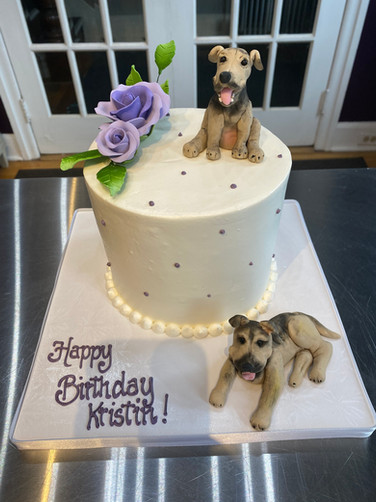 Celebrating Her Dogs Birthday Cake