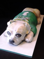 Sculpted Dog Mascot Graduation Cake