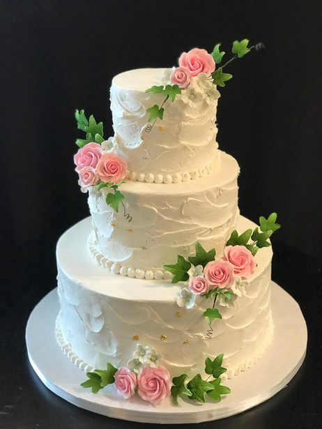 White Stucco Buttercream Rustic Wedding with Pink Roses