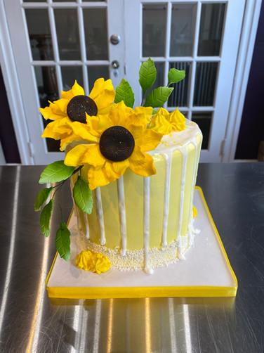 Sunflower Drip Birthday Cake