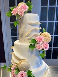 White and Gold Ruffle Modern Wedding