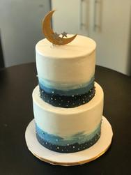 Night Sky Watercolor Baby Shower Cake