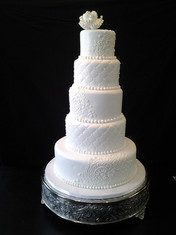 White-on-White Fondant Tiered Traditional Wedding