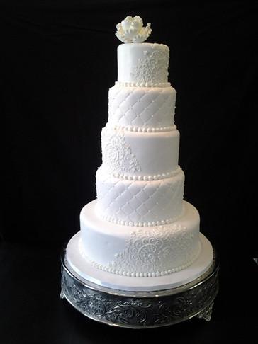 White-on-White Fondant Tiered Traditional Wedding