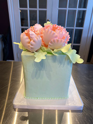 Pale Blue & Pink Bouquet Birthday Cake