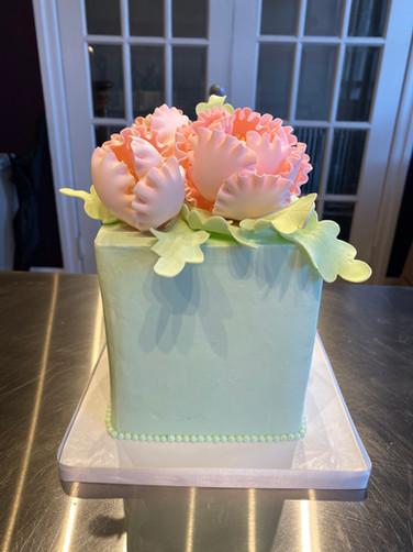 Pale Blue & Pink Bouquet Birthday Cake