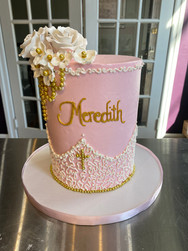 Swooping Chantily Lace Christening Cake