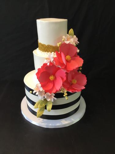 Black Striped Ribbon Birthday Cake with Gumpaste Flowers