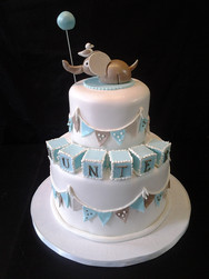 Baby Blocks & Elephant Baby Shower Cake