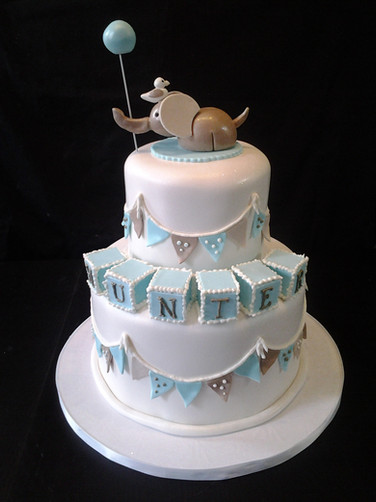 Baby Blocks & Elephant Baby Shower Cake