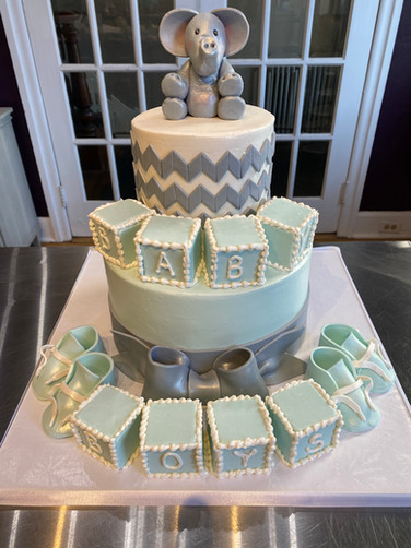 Elephant & Baby Blocks Baby Shower