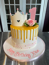 Crown Drip Birthday Cake