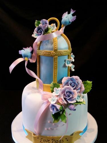 Bluebirds Birdcage Birthday Cake