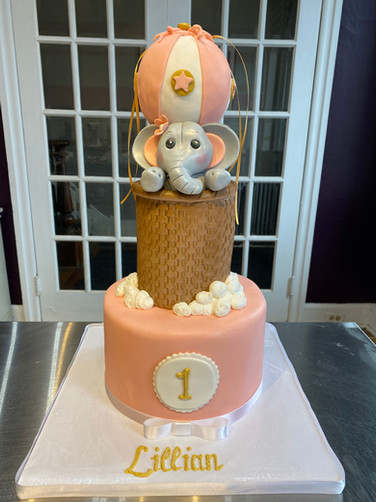 Elephant in the Clouds Hot Air Balloon Birthday Cake