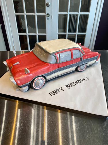 Red Vintage Stationwagon Birthday Cake