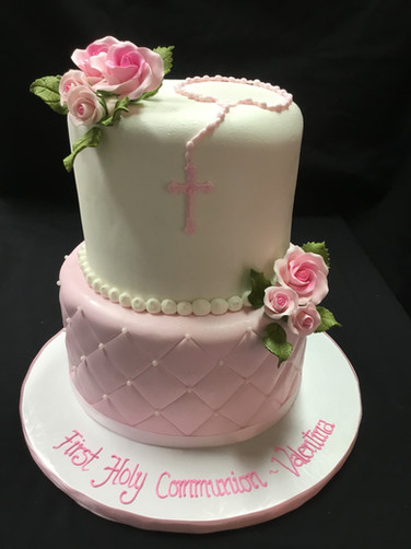 Pink Quilted Rosary First Communion Cake