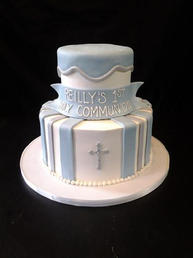 Pale Blue Striped Communion Cake