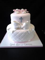 White Quilted Christening Cake with White Bow