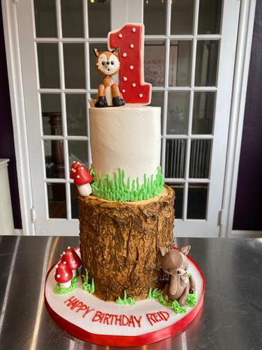 Woodland Creatures and Wood Log Birthday Cake