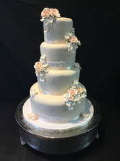 Ivory Lace Traditional Wedding with Dusted Gumpaste Flowers
