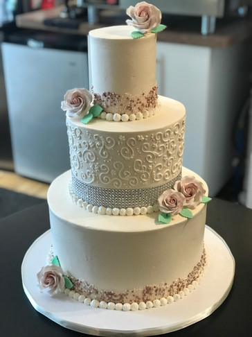 Scroll & Diamond Traditional Wedding Cake with Gumpaste Roses