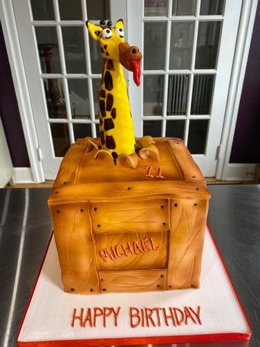Escaped Giraffe Birthday Cake