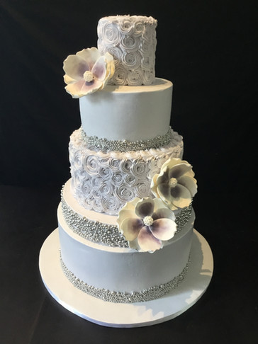 Purple Rosette and Silver Pearl Traditional Wedding