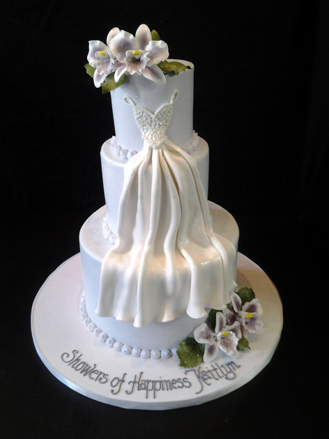 Draped Wedding Dress Bridal Shower Cake