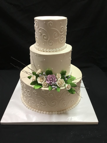 Ivory and White Scrollwork Traditional Wedding