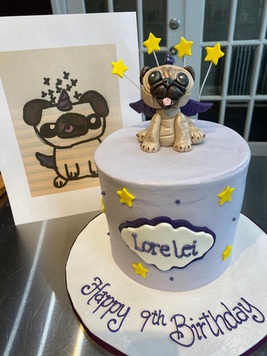 Client-Sketched Puppy Birthday Cake
