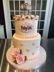 Baby Girl Elephant Shower Cake