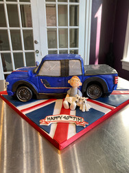 Blue Pick-Up Truck Birthday Cake