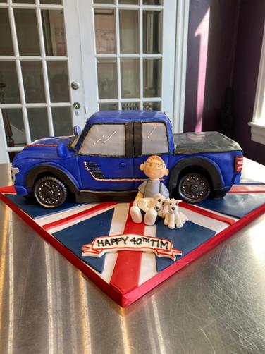Blue Pick-Up Truck Birthday Cake