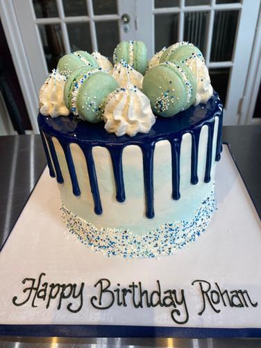Blue Drip Cake with Macarons Birthday Cake