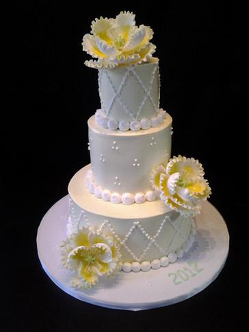 Diamond Stud Traditional Wedding with Large Peony Flowers