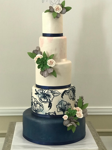 White and Navy Blue Floral Piped Modern Wedding