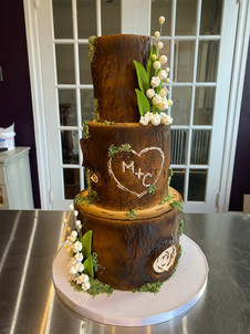 Fondant Wood-Look Tree Rustic Cake