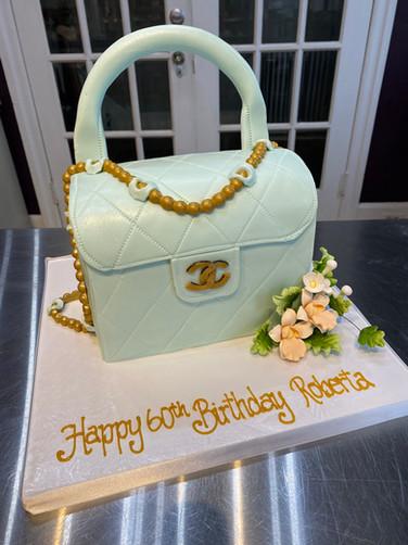 Pale Blue Chanel Purse Birthday Cake