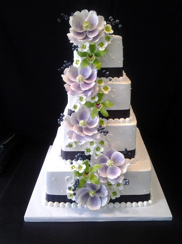 Purple Cascade Buttercream Traditional Wedding
