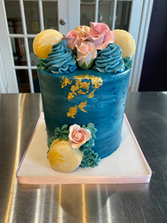 Blue Watercolor & Goldleaf Birthday Cake