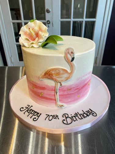 Pink Flamingo Birthday Cake