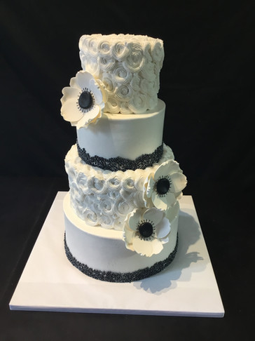 Black and White Rosette Traditional Wedding